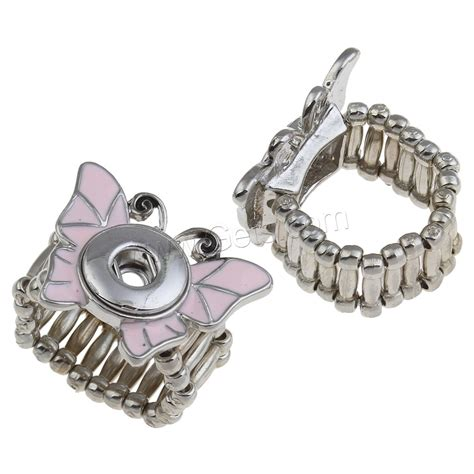zinc alloy noosa snap ring setting butterfly platinum color plated enamel lead cadmium free