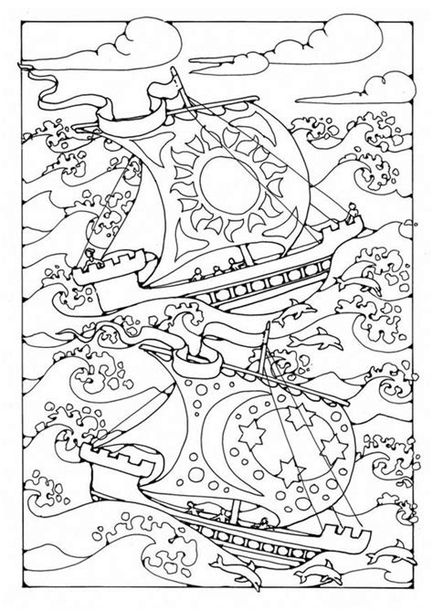 Ships in the Storm colouring page by Dandi Palmer