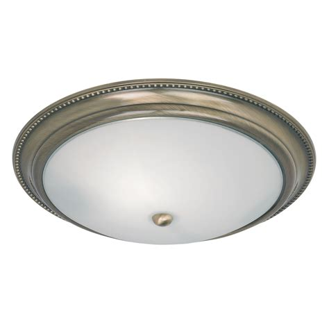 Flush Glass Ceiling Light Endon Lighting Flush Ceiling Light Opal White Glass Shade Brass Ebay