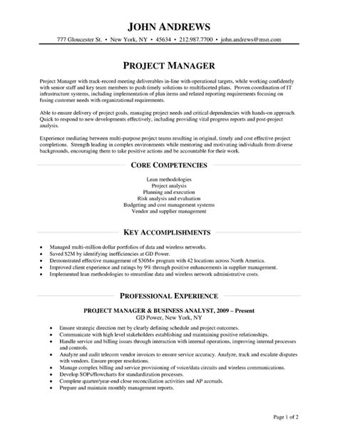 project manager experience resume project manager job cv