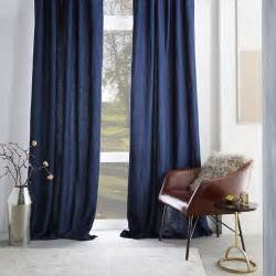 Belgian Linen Curtains Belgian Flax Linen Curtain Midnight West Elm