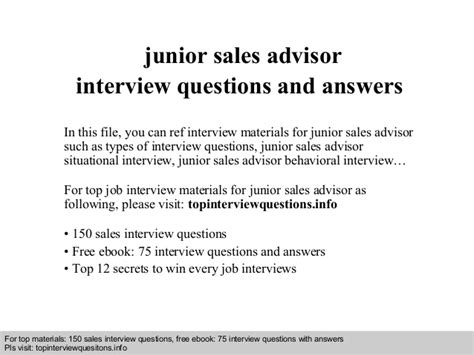 junior sales advisor questions and answers
