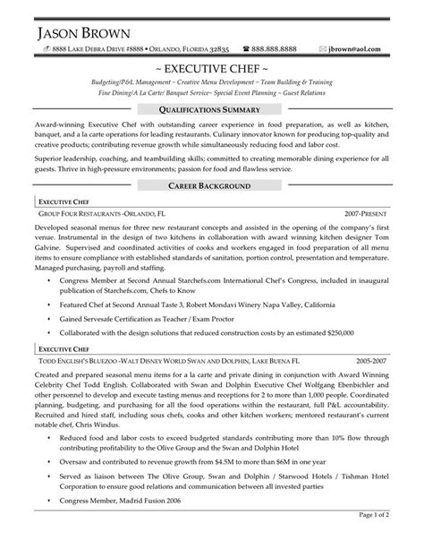 executive chef resume objective 44 best images about resume sles on human
