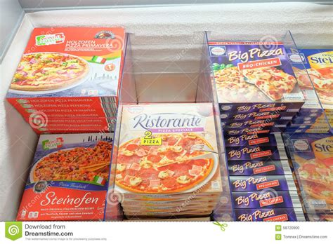 frozen food section frozen pizzas editorial image image 58720900