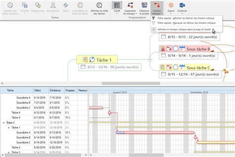 chemin critique dans le diagramme de gantt mindmanager pour windows productivit 233 cr 233 ativit 233