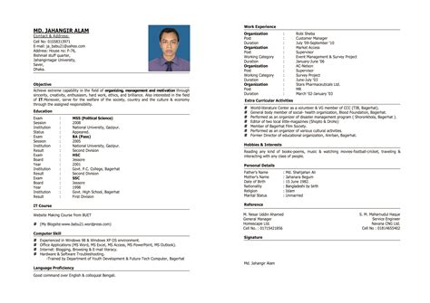 Example Of Online Resume by My Cv And Academic Papers Md Jahangir Alam