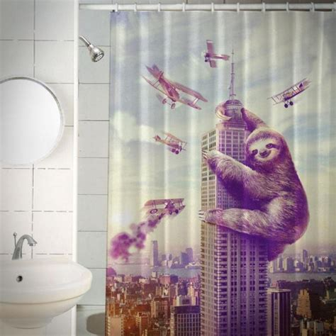 slothzilla shower curtain 24 genius products your bathroom needs right now