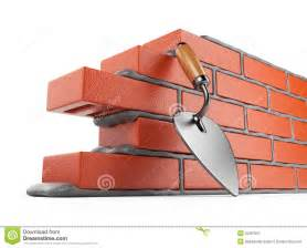 trowel and bricks wall 3d work place isolated stock
