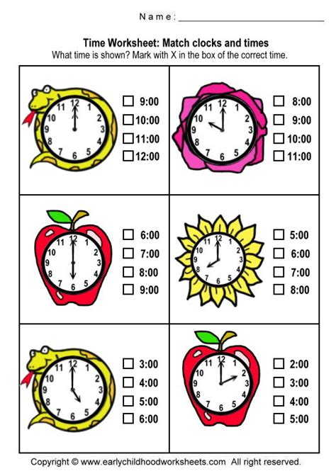 printable clock matching game www earlychildhoodworksheets com math time matching clocks