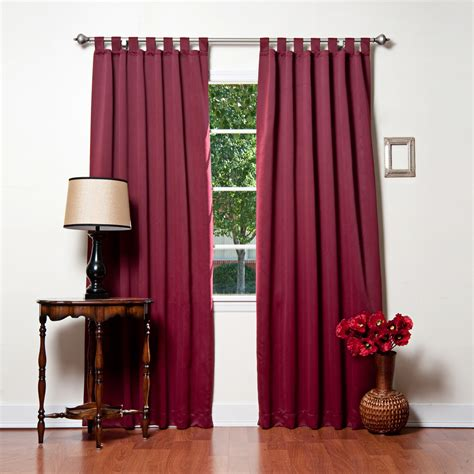 Burgundy Blackout Curtains Burgundy Basic Solid Tab Top Thermal Insulated Blackout Curtains 104 W X 95 L Pair Milium