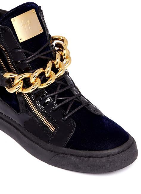 all giuseppe sneakers giuseppe zanotti velvet sneakers with oversized chain in