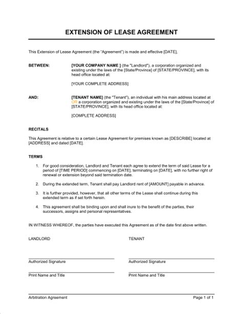 Letter Extending Lease Agreement Extension Of A Lease Template Sle Form Biztree