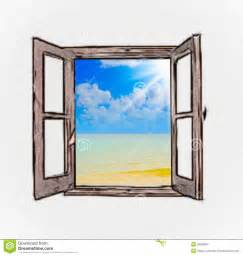 Outdoor Window Curtains Sea View Through An Open Window Royalty Free Stock