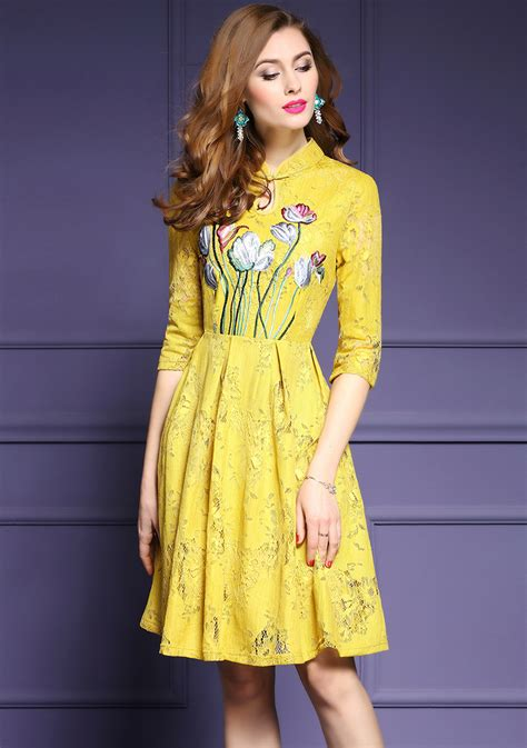 Yellow Lace Flower Dress Size Mlxl 12648 designer 2017 fashion runway pink yellow flower embroidery casual work