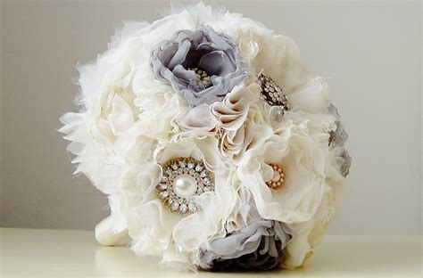 Handmade Bridal Bouquets - fabric wedding bouquet wedding brooch bouquet handmade