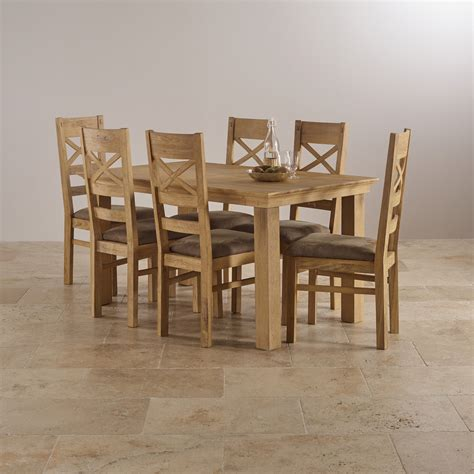 Solid Oak Dining Table And 6 Chairs Costal Extending Dining Set In Oak Table 6 Chairs