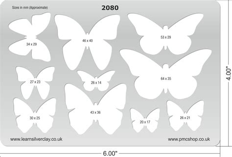 metal clay template butterflies 2080