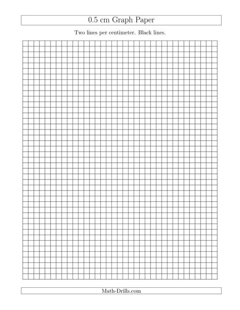 printable graph paper math drills 0 5 cm graph paper with black lines a