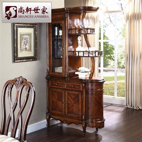 Glass Bar Cabinet American Style Solid Wood Wine Cabinet Fashion Corner Cabinet Partition Glass Bar Counter