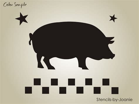 Pig Decor For Home Stencil Country Market Pig Bacon Check Border Star Prim