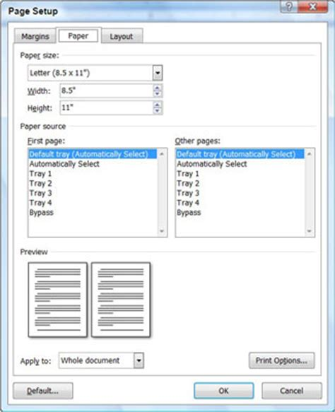 word layout size format the paper size in word 2007 dummies