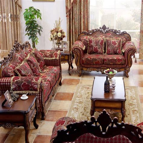 exotic living room furniture wood carving fabric sofa combination of high quality