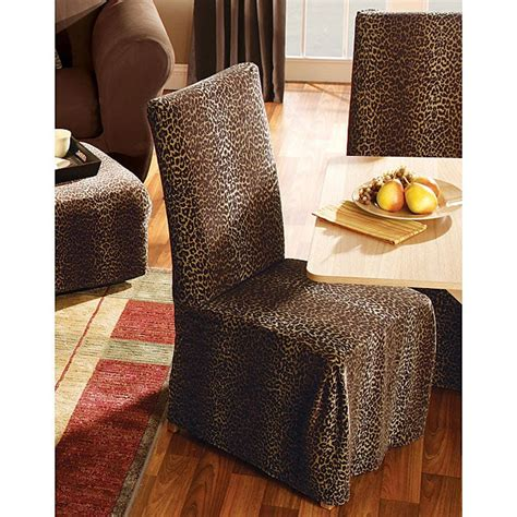 leopard dining room chair slipcovers set