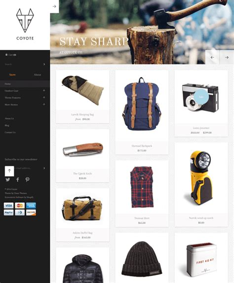 shopify themes masonry 6 of the best shopify themes for outdoor goods cing