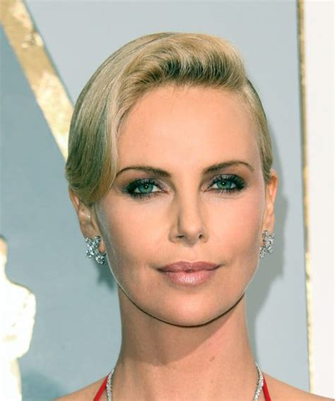 short straight formal hairstyle with side swept bangs charlize theron short straight formal hairstyle with side