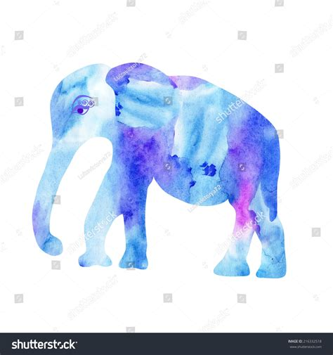 elephant design clothes cute blue elephant painted watercolor bright stock