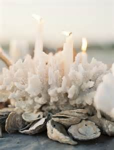 Candle Holder Vase Centerpiece Seaside Reception Oyster Garland Amp Coral Centerpiece