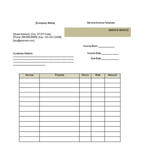 service invoice template free service invoice template 10 free sle exle