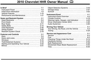 chevrolet 2010 hhr operators owners user owner manual