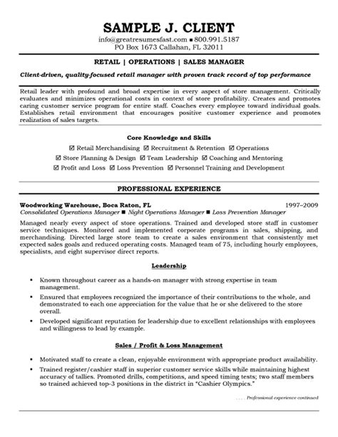 Resume Summary Sle For Operations Manager 14 Retail Store Manager Resume Sle Writing Resume Sle Writing Resume Sle
