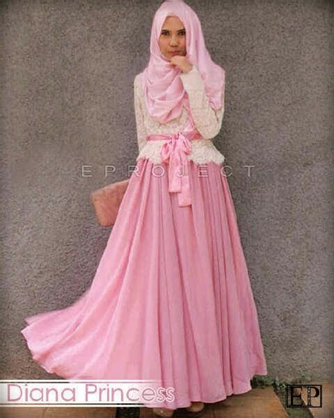 Gamis Pelangi Hijabers Princess diana princess set hijaber pink faeyzalakeishaolshop