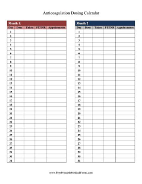 printable anticoagulation dosing calendar