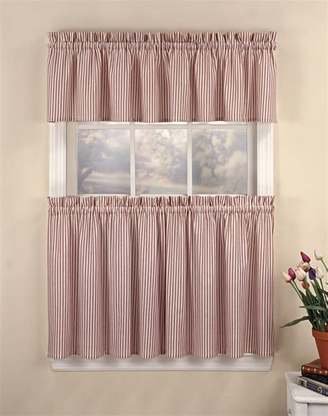 curtains for a kitchen ticking stripe 3 piece kitchen curtain tier set
