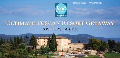 Travel Network Sweepstakes - food network ultimate tuscan resort sweepstakes sun sweeps
