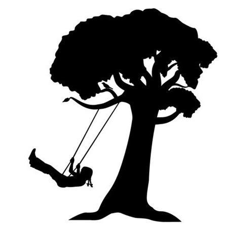 silhouette swing watercolor girl on swing silhouette girl on tree swing