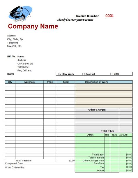 repair shop invoice template mechanics invoice auto repair invoice template