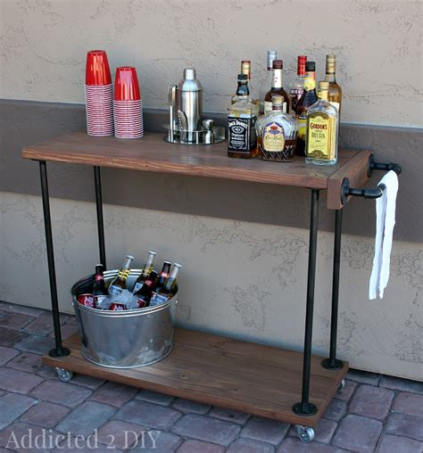 diy rustic industrial bar cart addicted 2 diy