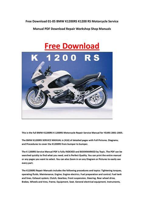 01 05 Bmw K1200rs K1200 Rs Motorcycle Service Manual Pdf