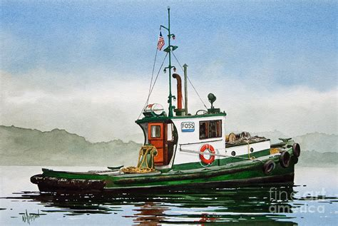 tugboat painting tugboat lela foss painting by james williamson