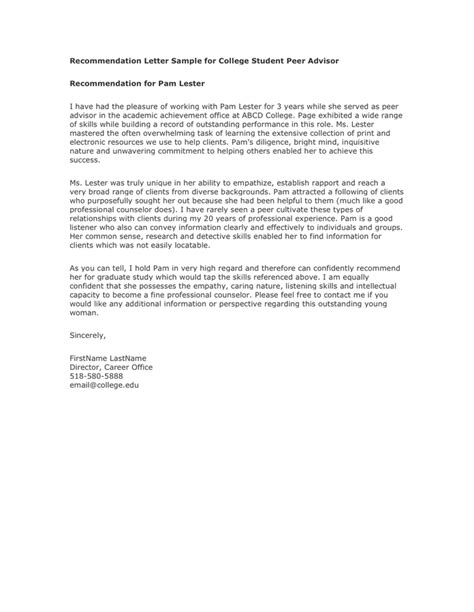 Letter Of Recommendation Peer reference letter from a in word and pdf formats