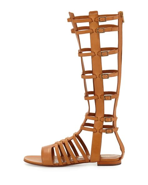 mid calf gladiator sandals laurent mid calf caged gladiator sandals in brown lyst