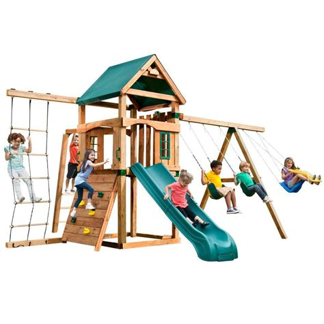 home depot swing n slide swing n slide playsets bighorn play set with summit slide