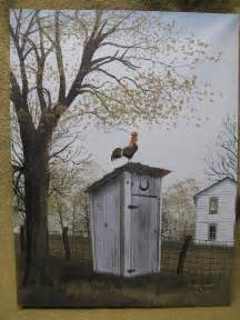 rooster on outhouse canvas painting wall decor country