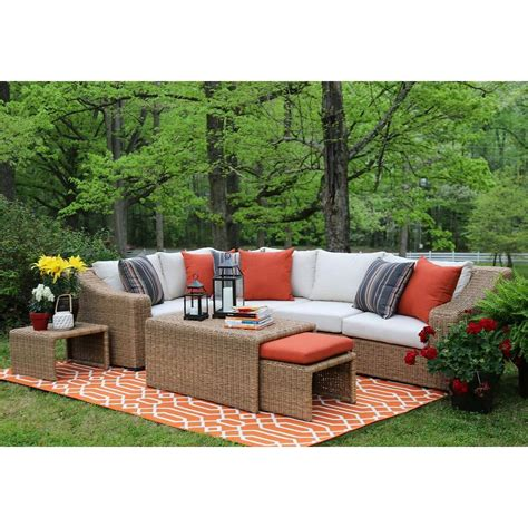 Outdoor Patio Sectional Furniture Ae Outdoor Camilla 4 All Weather Wicker Patio Sectional With Sunbrella Fabric Sec100050