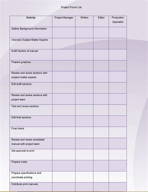 construction deficiency report template 7 free sle construction punch list templates printable sles