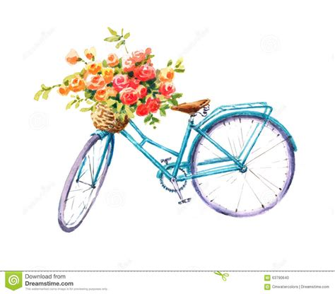 summer bike watercolor blue bicycle with flower basket royalty free
